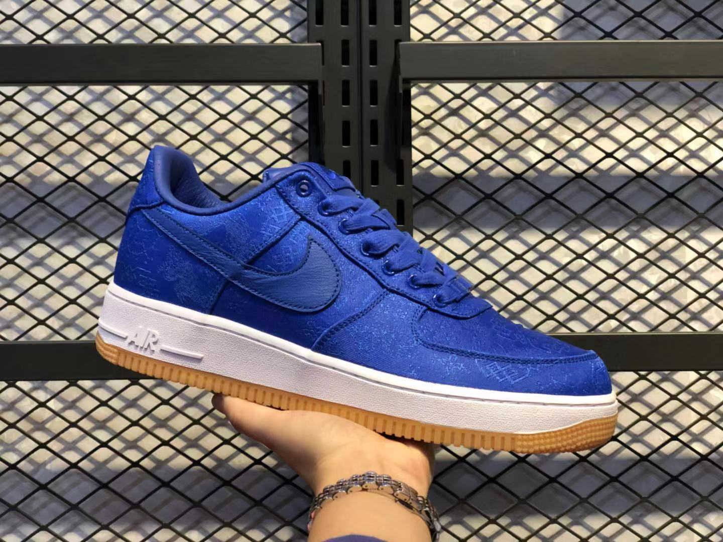 CLOT x Nike Air Force 1 University Blue/White/Gum Sneakers Hot Selling