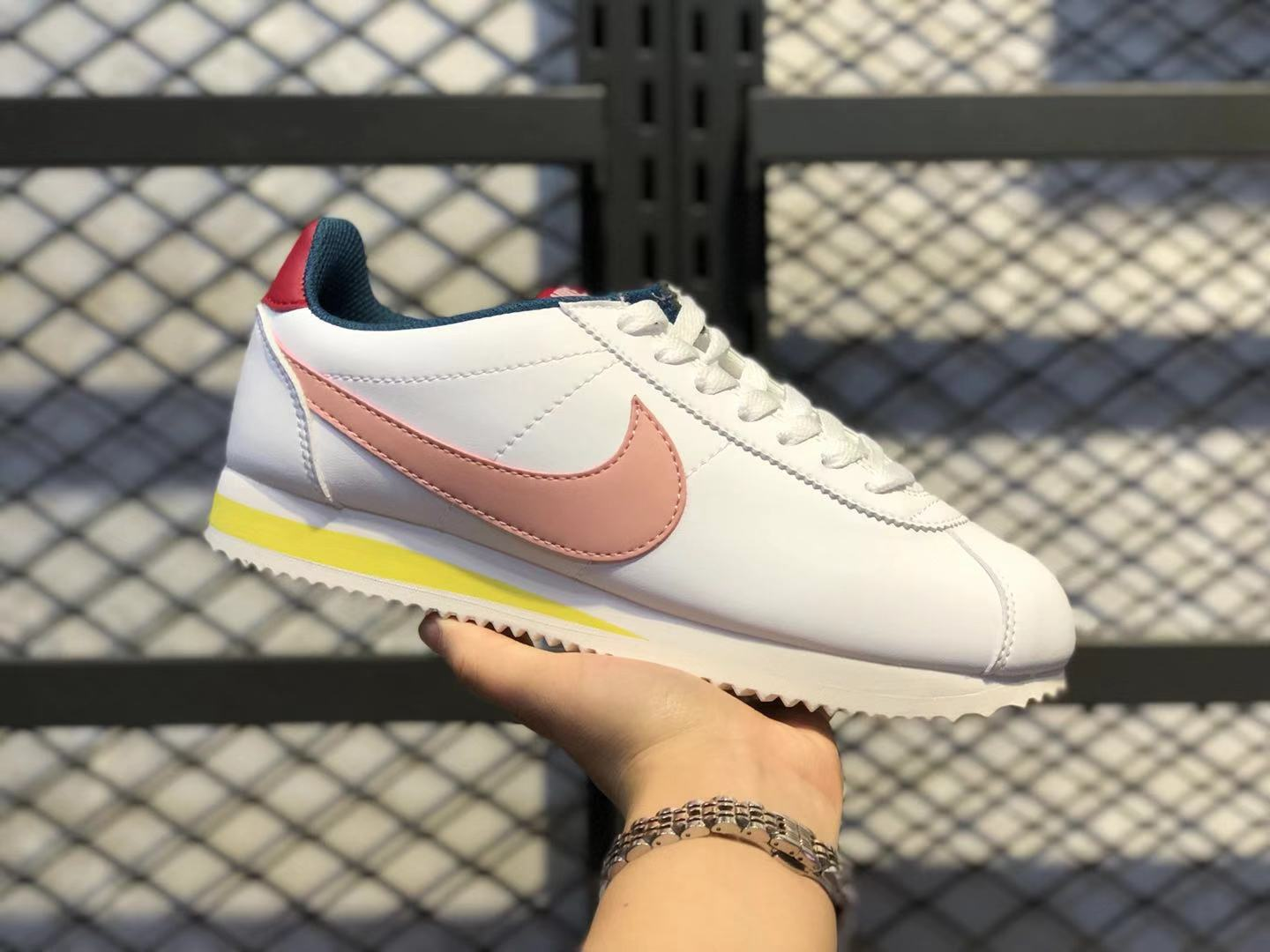 Hot Sale Nike Cortez Leather White/Gym Red-Chrome Yellow-Coral Stardust