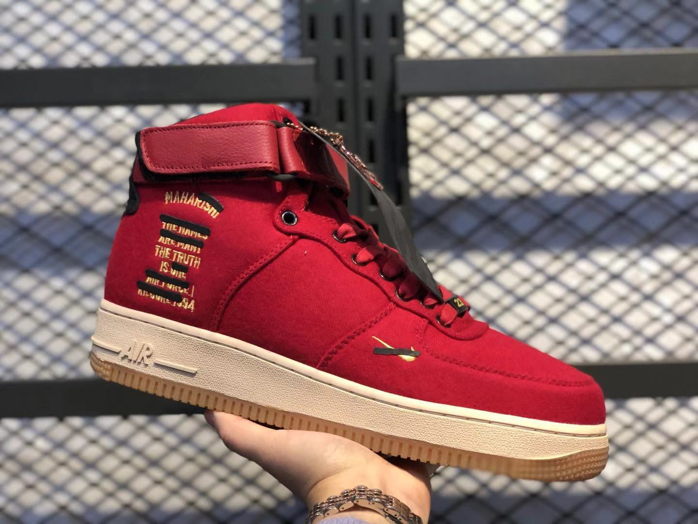 Nike Air Force 1 High Premium Men's Multi Color Red Sneakers Free Shipping