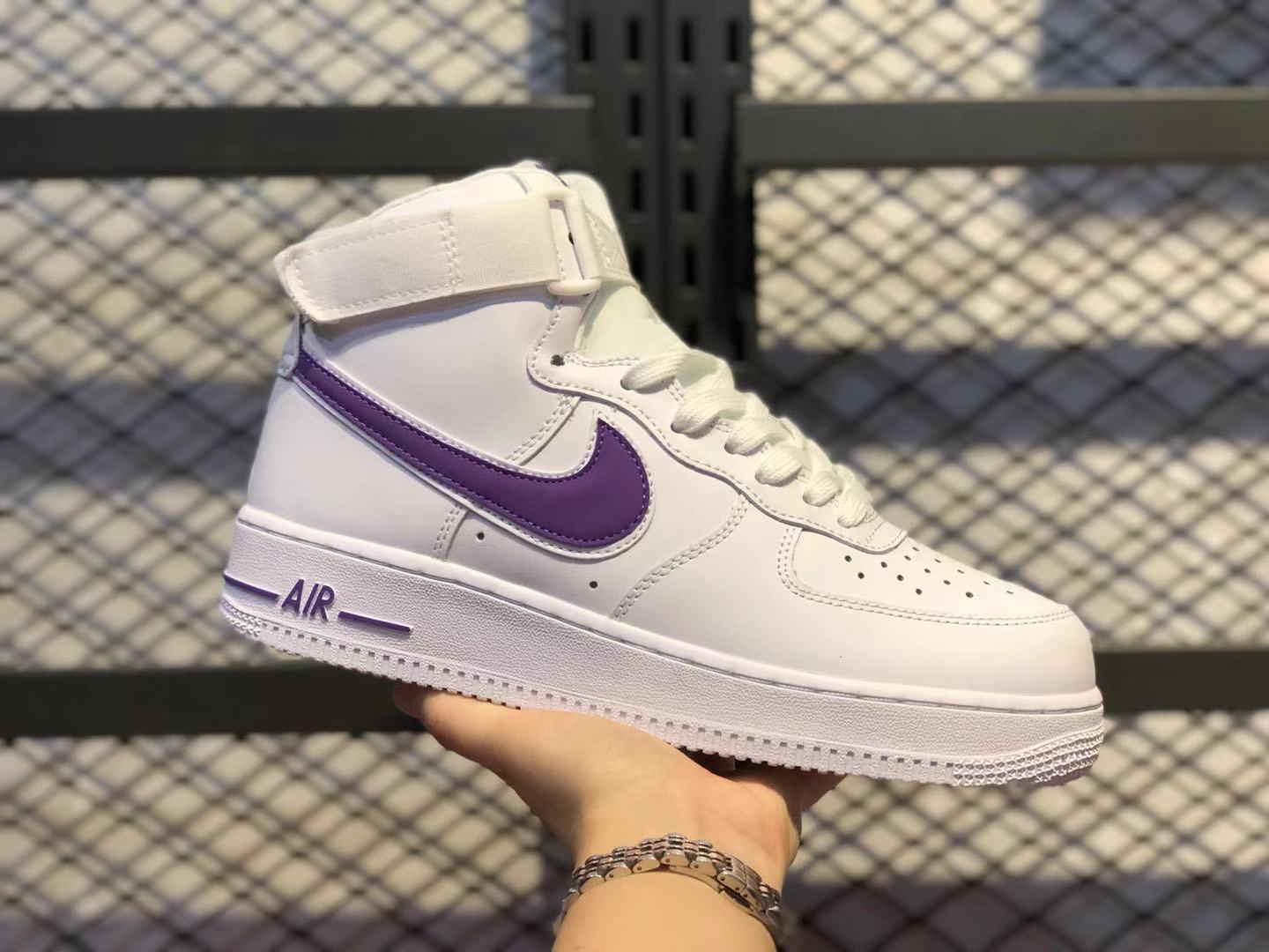 Nike Air Force 1 High White/Court Purple Top Shoes Cheap Price AT4141-103