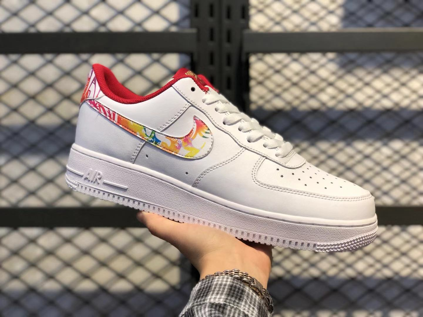 Nike Air Force 1 Low Black/Multi-Color-Red Life Classic Shoes Cheap Price