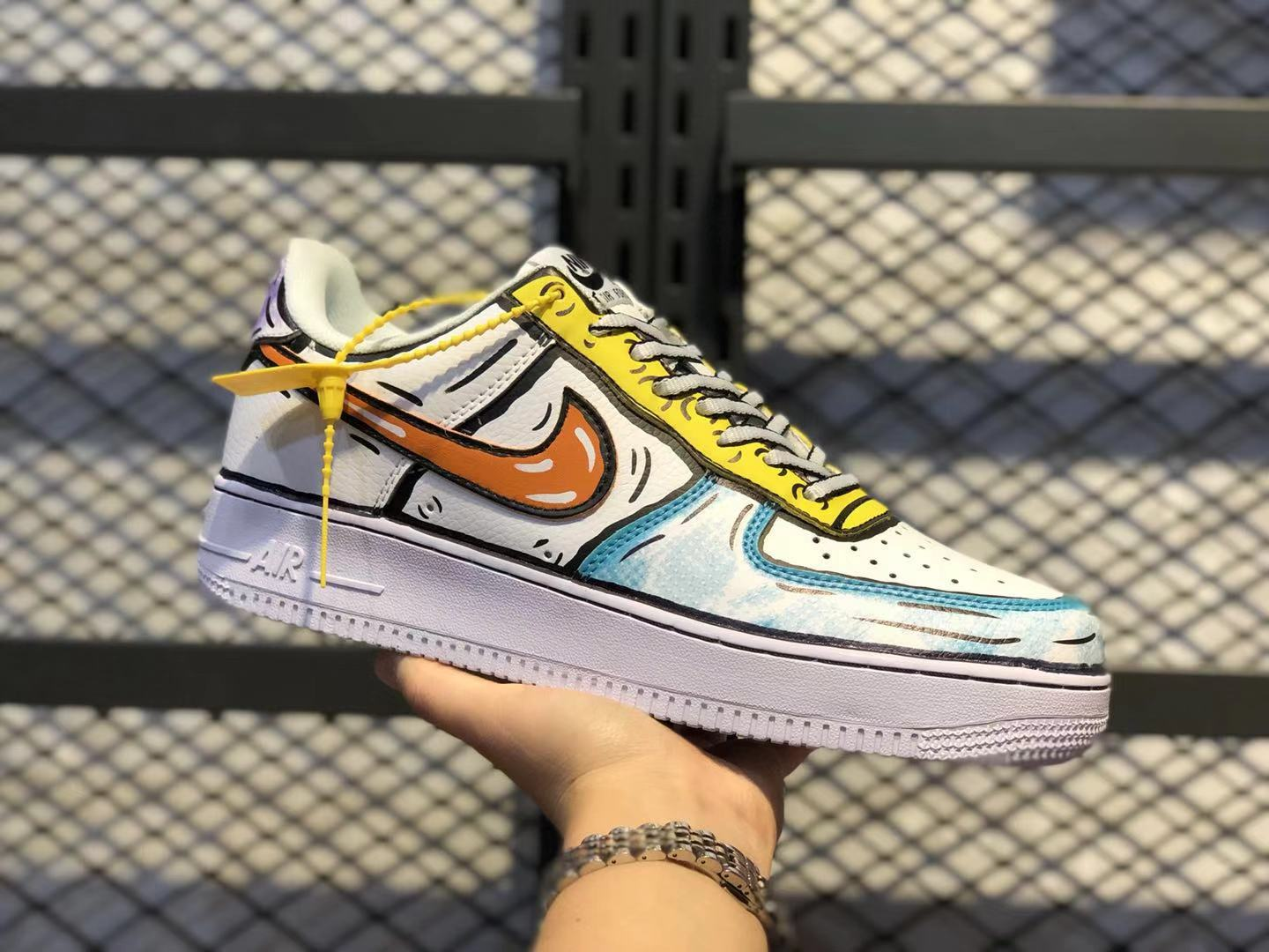 """Nike Air Force 1 Low """"Graffiti"""" Hand-Painted Multi-Color Online Buy AO9822-001"""