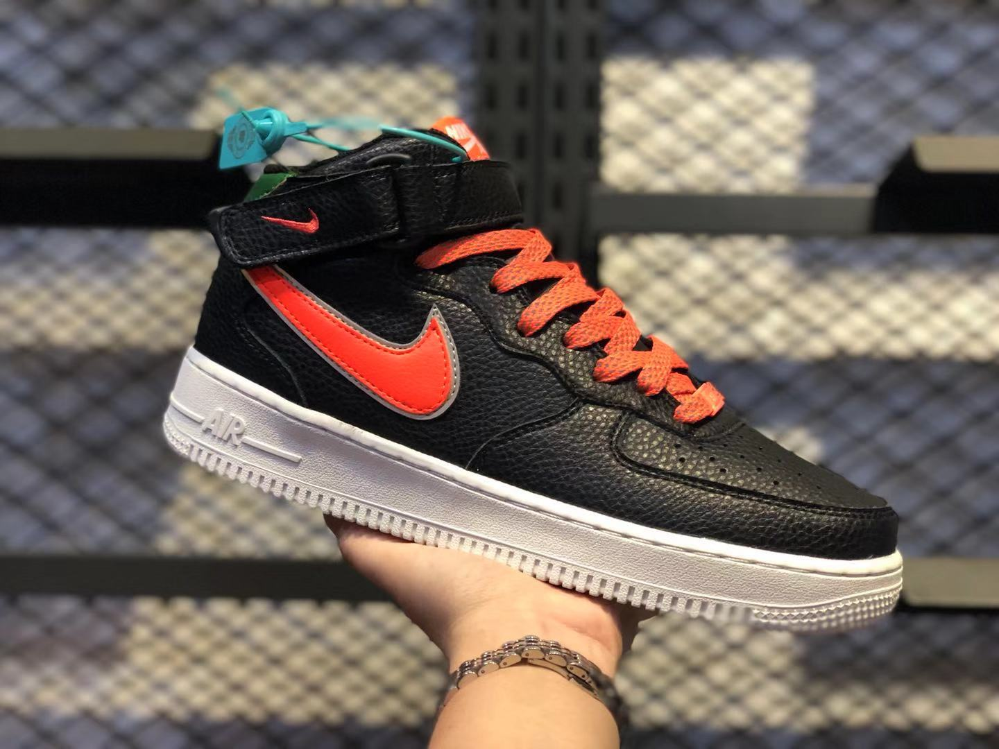 Nike Air Force 1 Mid Black/Gym Red Most Popular Men's Sneakers CJ6106-105