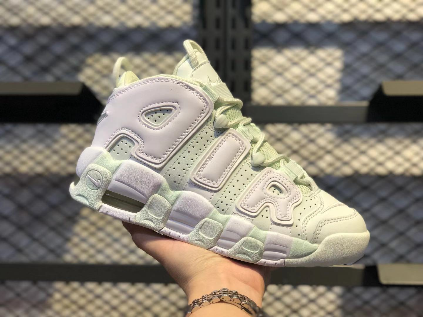 Nike Wmns Air More Uptempo Barely Green/White High Quality Sneakers 917593-300