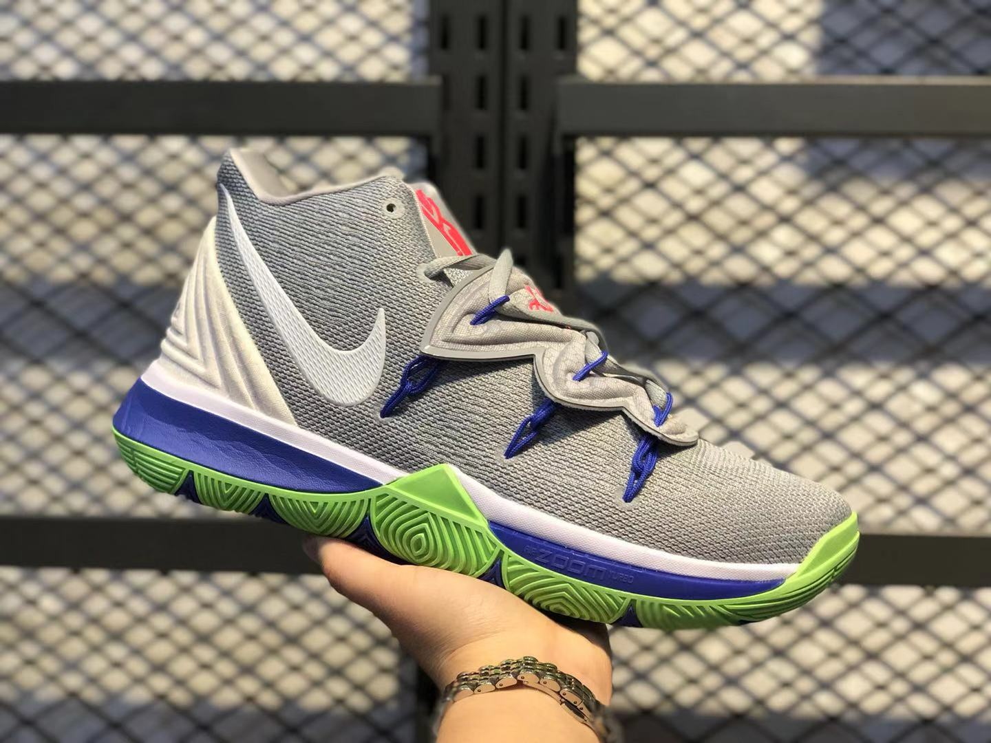 Nike Zoom Kyrie 5 Wolf Grey/White-Lime Blast Boys Shoes Free Shipping