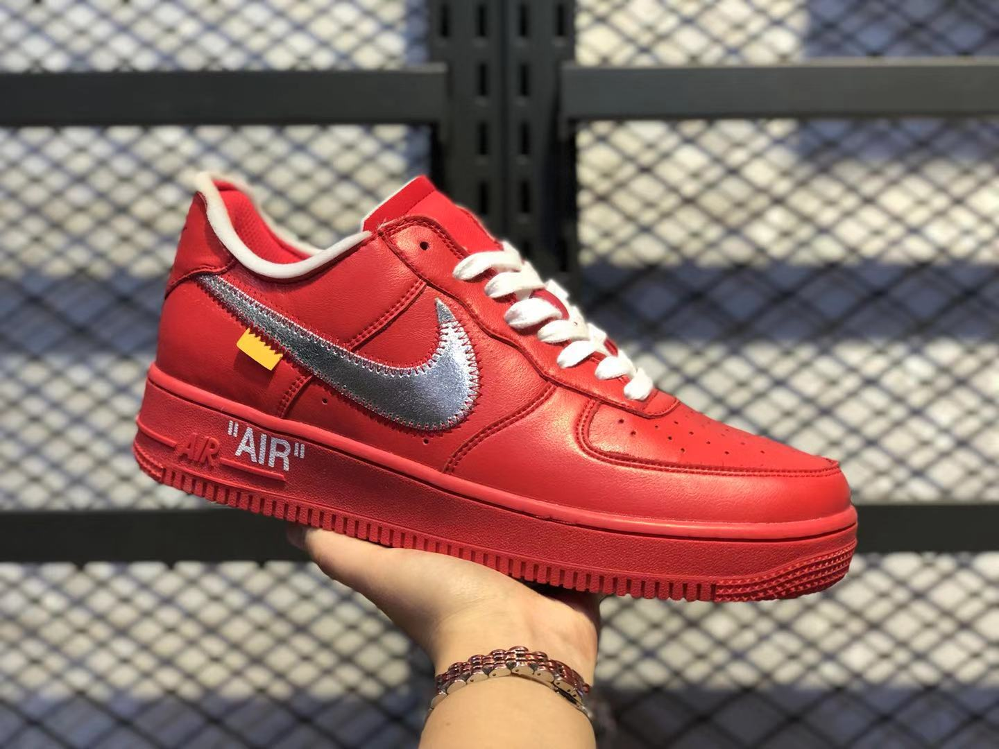 OFF-White x Nike Air Force 1 OW Gym Red/White-Silver Casual Shoes Discount