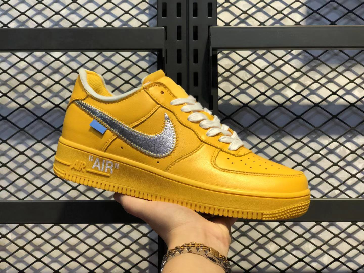 OFF-White x Nike Air Force 1 OW Yellow/Metallic Silver-White Super Deals