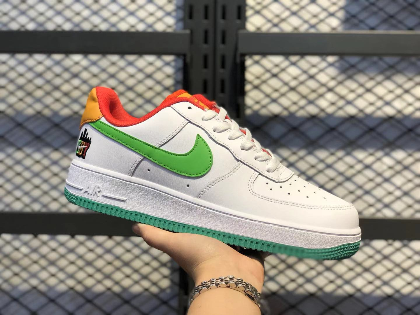 """Online Buy Nike Air Force 1 """"SBY"""" Low White/Green-Orange Sneakers CQ7506-146"""
