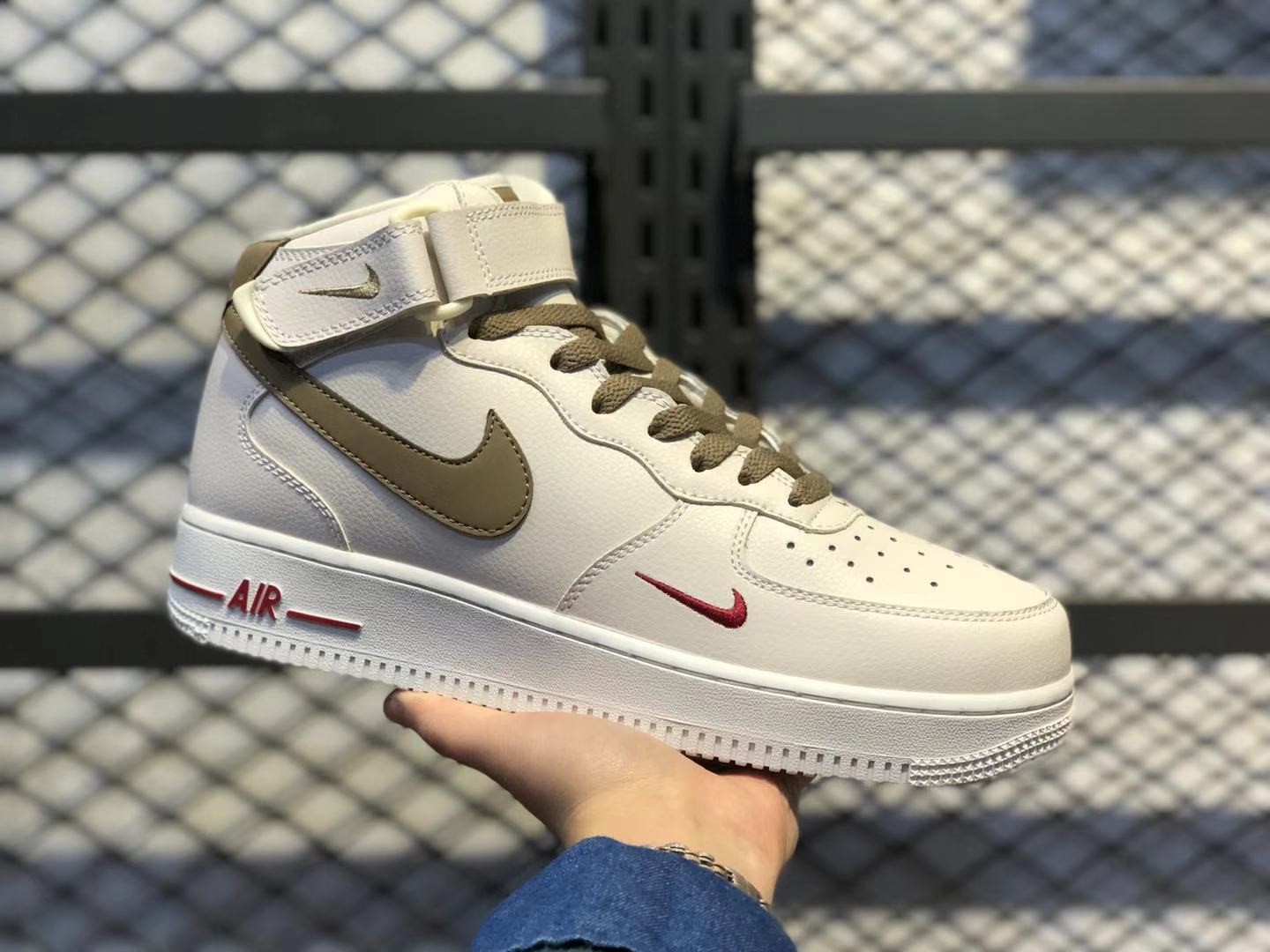 2020 Newest Nike WMNS Air Force 1 High White/Brown-Red Casual Shoes 808788-995