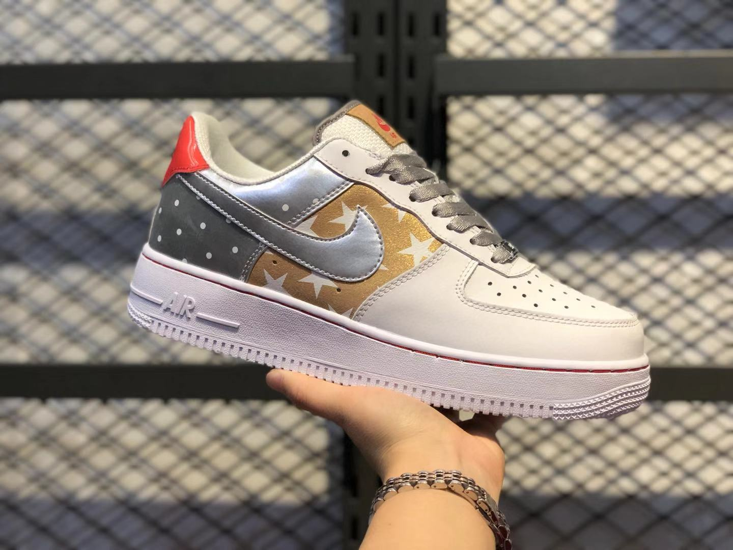 2020 Nike Air Force 1 White/Metallic Silver-Brown CT3437-100 For Online Sale