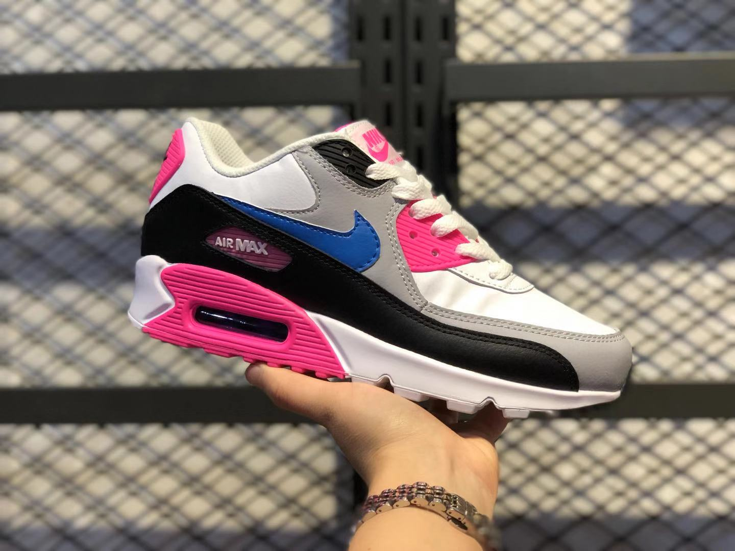 2020 Nike Air Max 90 LTR GS White/Blue/Pink For Online Sale 833376-107