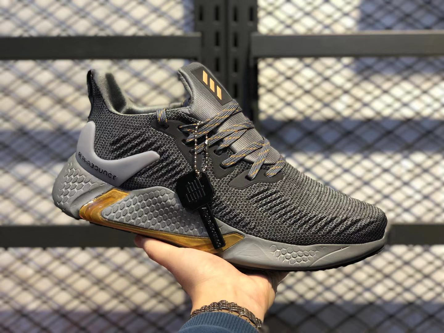 Adidas AlphaBounce Beyond Dark Grey/Gold Athletic Sneakers Free Shipping