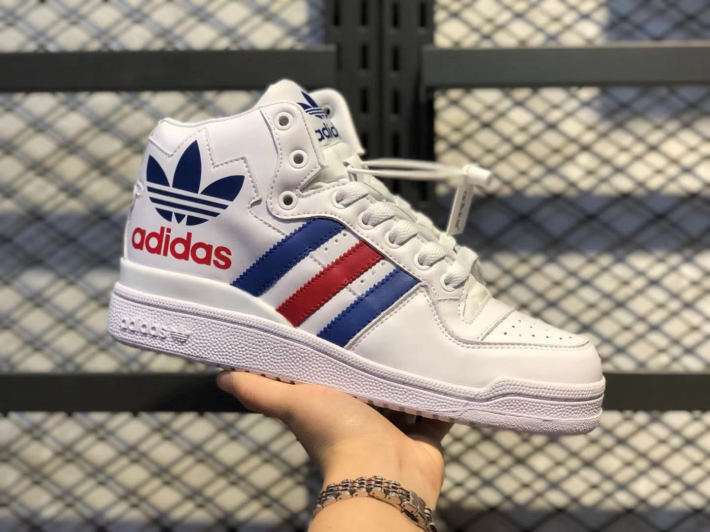 Adidas Forum High FU9396 White/Blue-Gym Red Top Shoes For ...