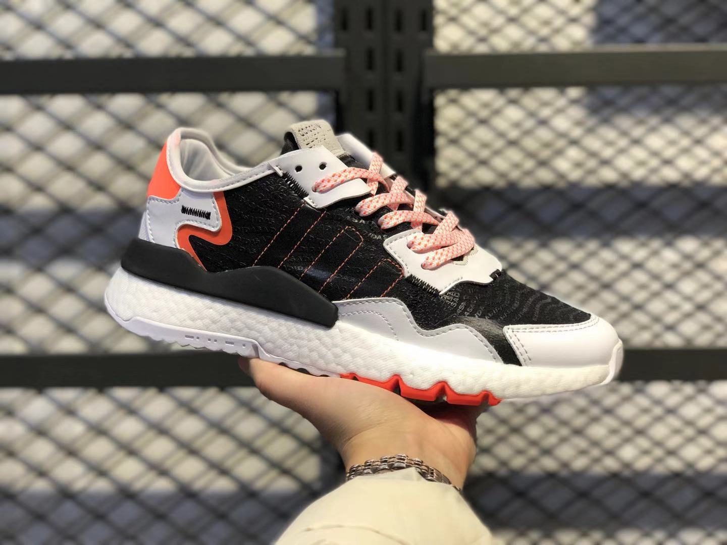 Adidas Nite Jogger Cloud White/Core Black-Solar Orange Hot Sale FU6842