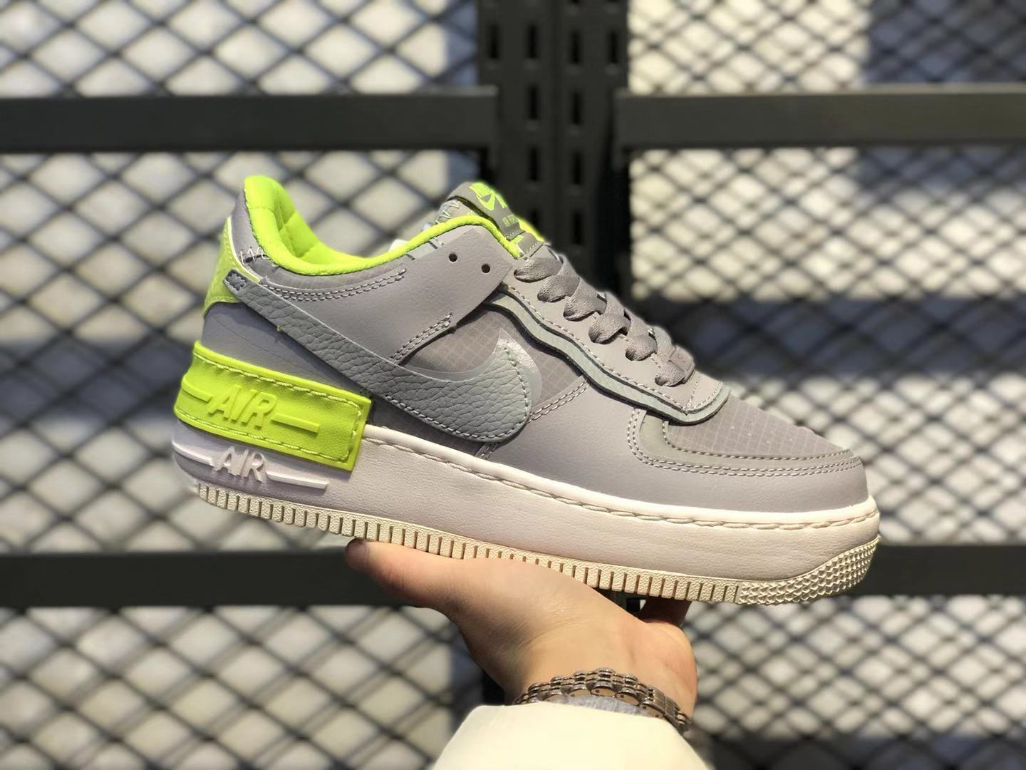 Best Sell Nike‌ WMNS Air Force 1 Low Grey/Scream Green Sneakers CQ3317-002
