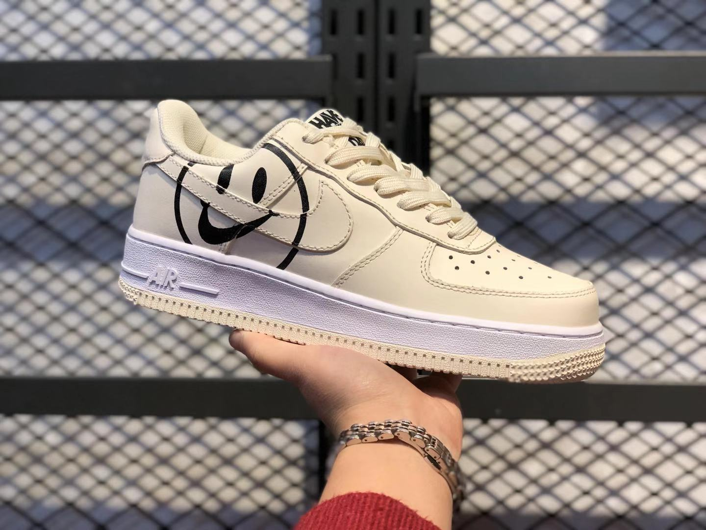 """Best Sell Nike Air Force 1 GS """"Have a Nike Day"""" Beige/Black Lifestyle Shoes"""