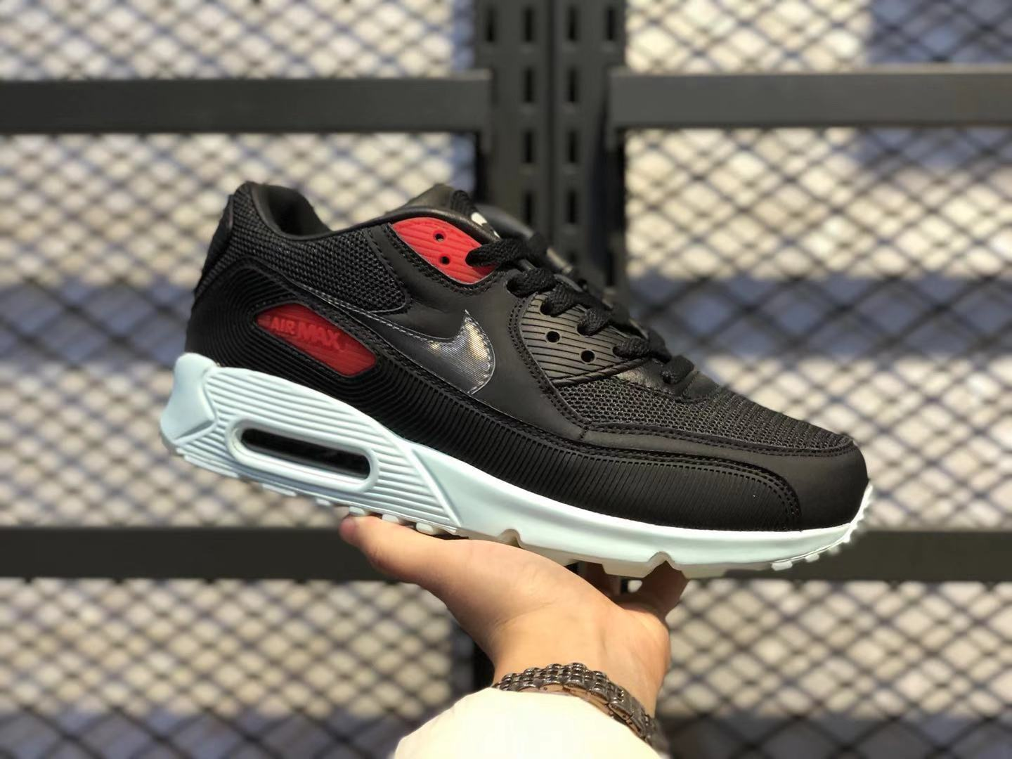 "Best Sell Nike Air Max 90 ""Vinyl"" Black/Cool Grey-Teal Tint-University Red"
