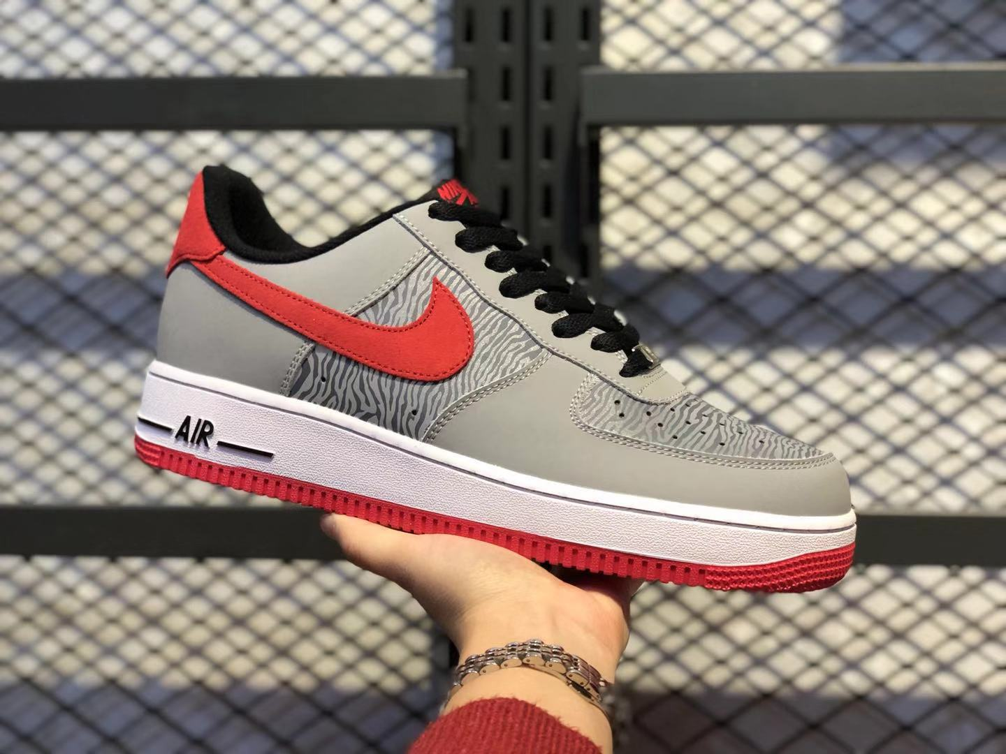 Discount Nike Air Force 1 Low Reflect Silver/University Red-Silver 488298-072