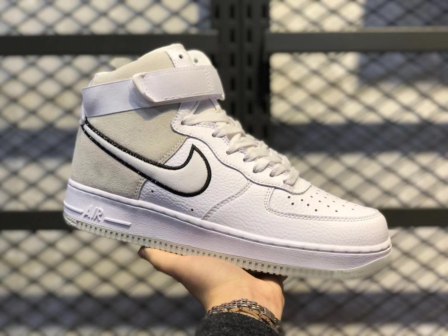 New This Year Nike Air Force 1 High White/Vast Grey-Black AO2442-100