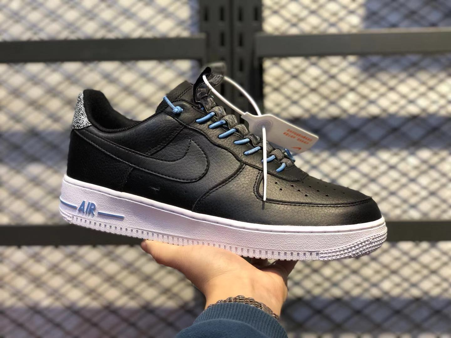 Nike Air Force 1'07 Black/Light Blue-White Casual Shoes 898889-015 Hot Sale