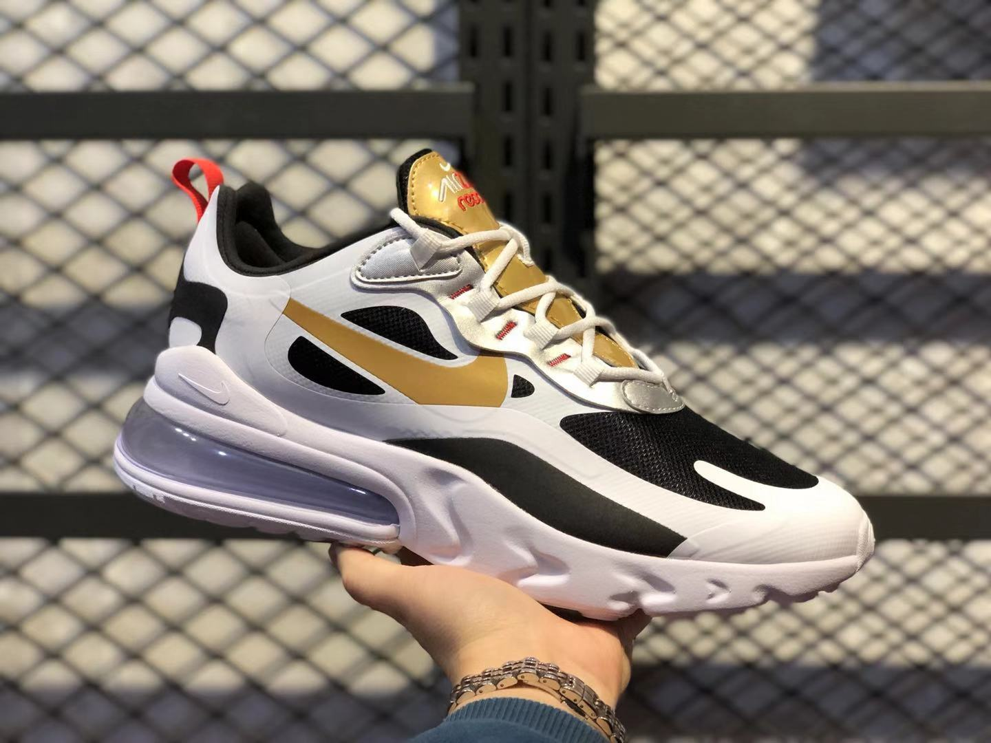 Nike Air‎ Max‎ 270 React White/Black-Gold Sneakers For Online Sale CT3433-001