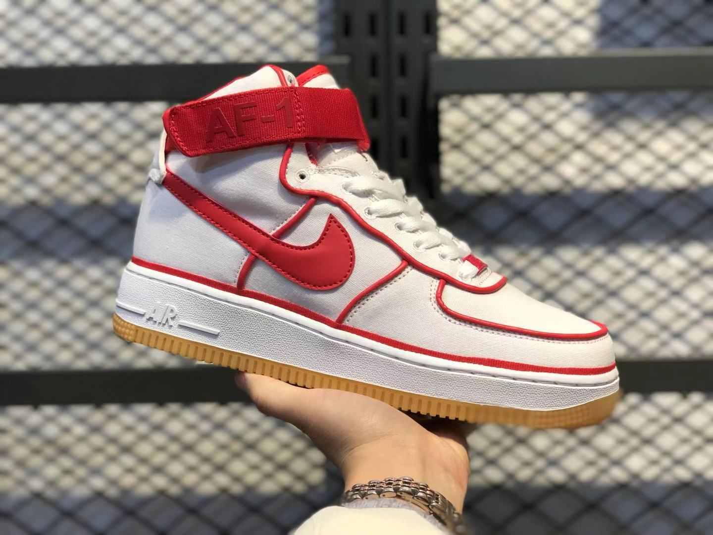 Nike Air Force 1 High White/University Red 806403-101 Men's Athletic Sneakers