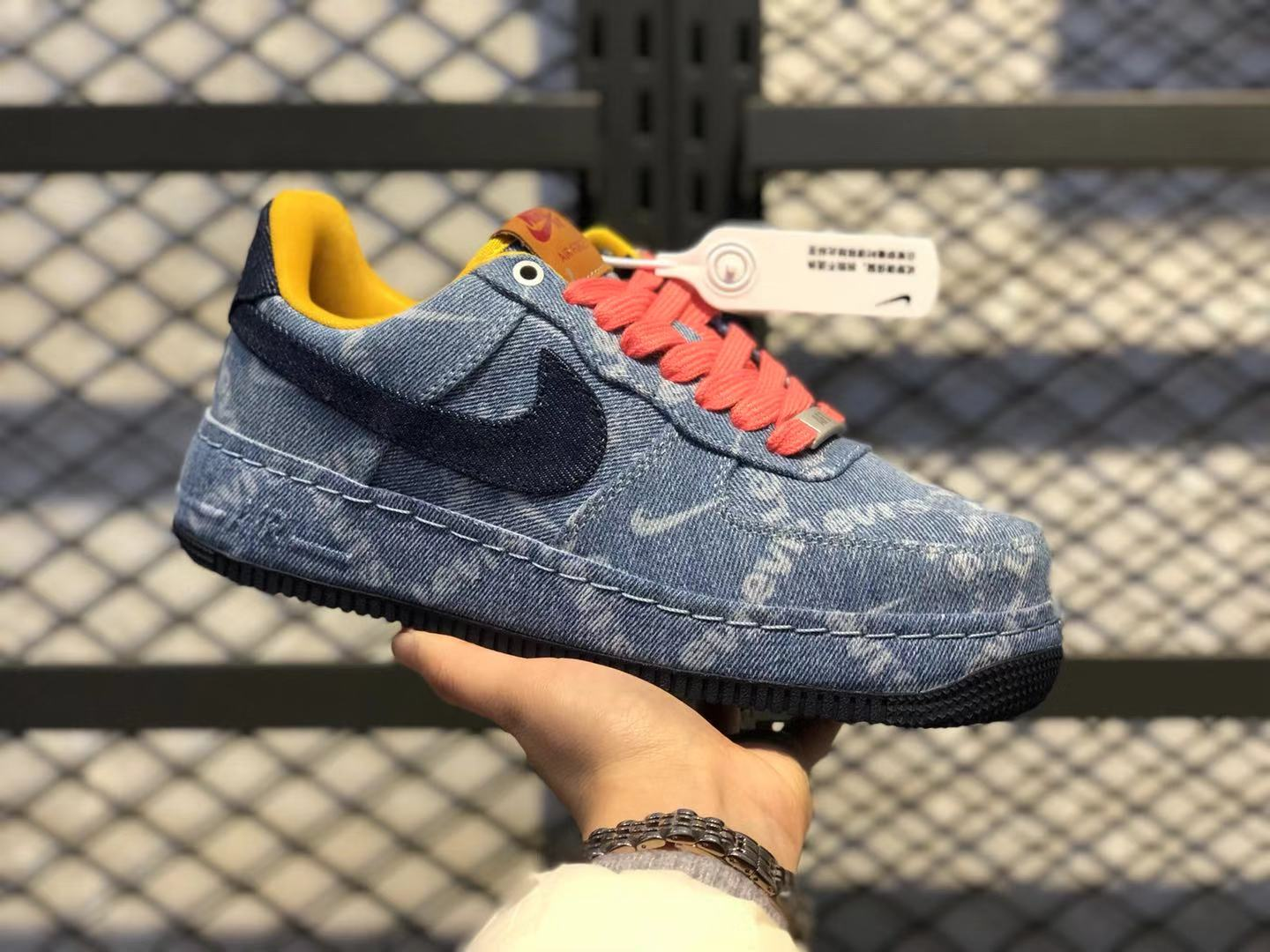 "Nike Air Force 1 Low ""Exclusive Denim"" Denim/Obsidian-Dark Sulfur Cheap Buy"