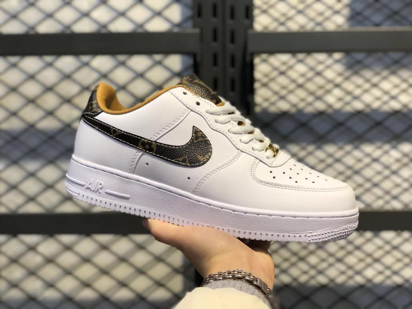 Nike Air Force 1 Low White/Dark Brown-Earth Yellow 315115-112 Skate Boarding Shoes