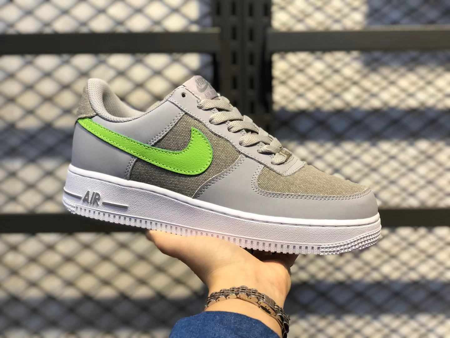 Nike Air Force 1 Low Wolf Grey/Action Green-White 488298-009 Super Deals