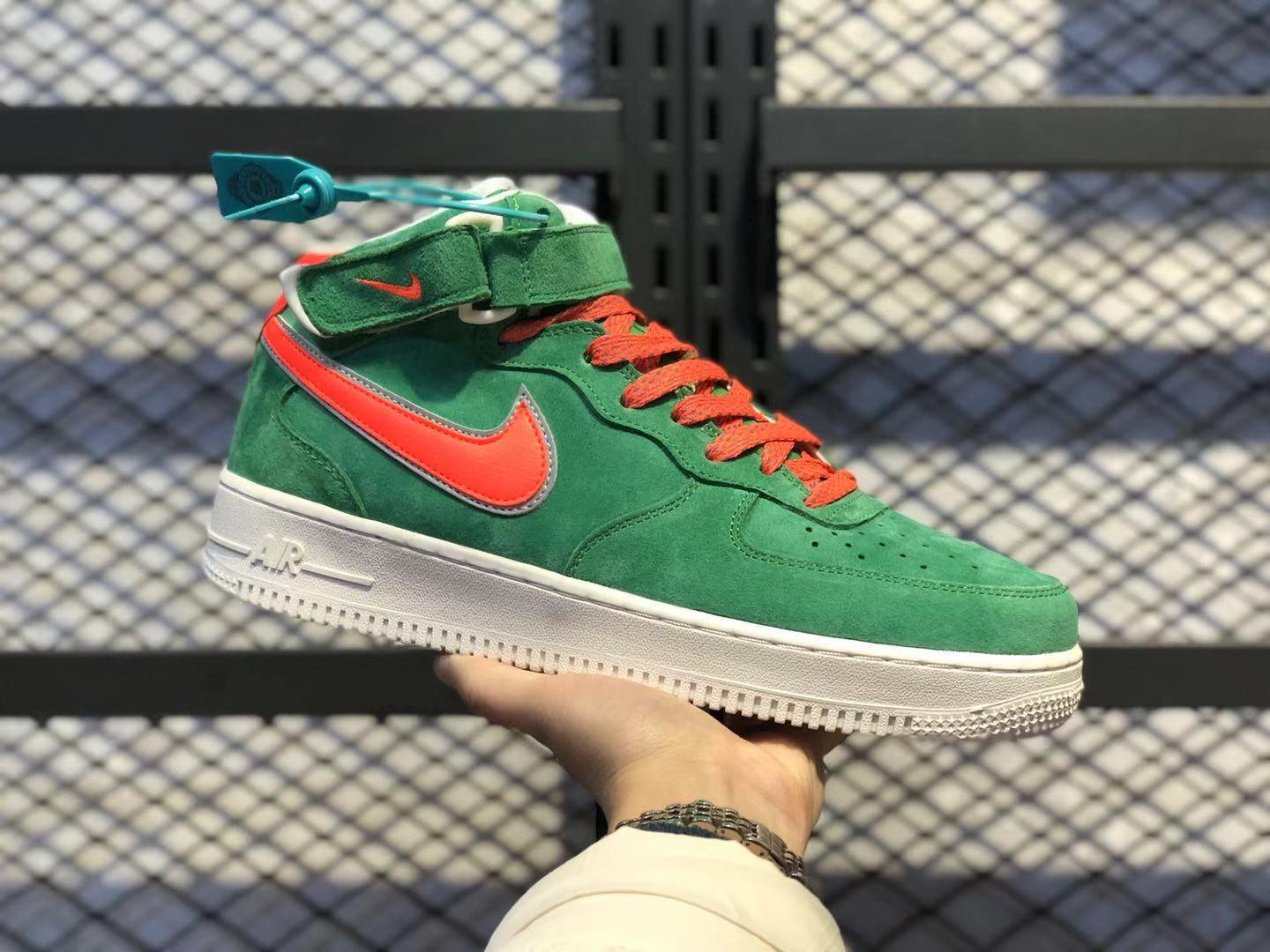 Nike Air Force 1 Mid Green/Orange-White Casual Sport Shoes In Stock AA1118-006