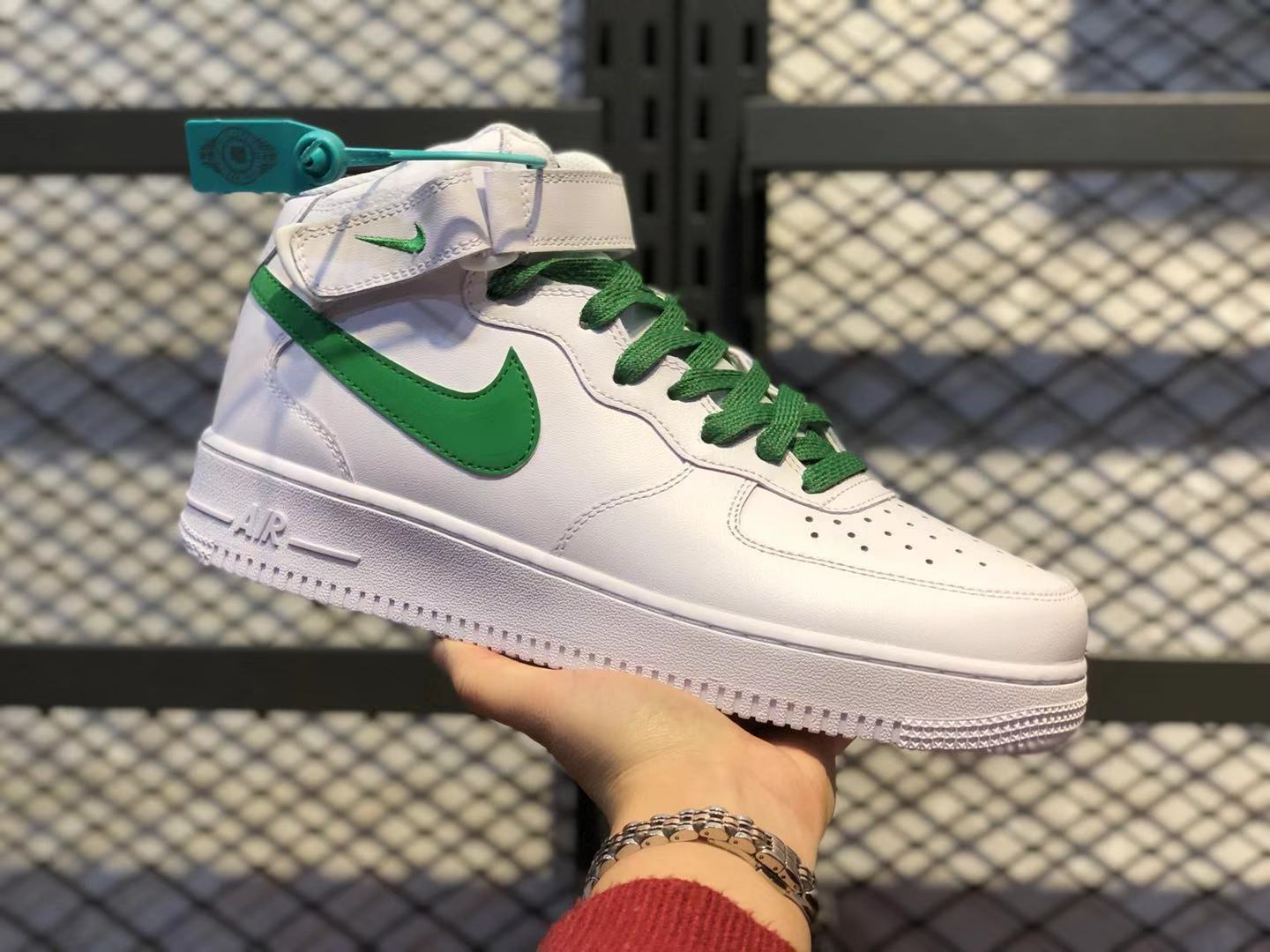 Nike Air Force 1 Mid White/Green Classic Shoes For Online Sale 366731-909