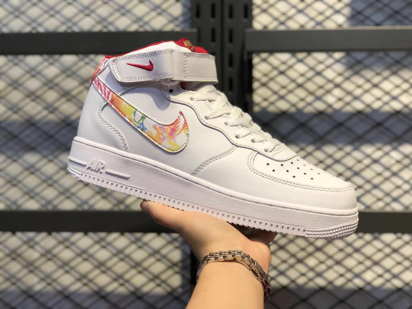 Nike Air Force 1 Mid White/Multi-Color-Red CU2980-192 For Online Sale