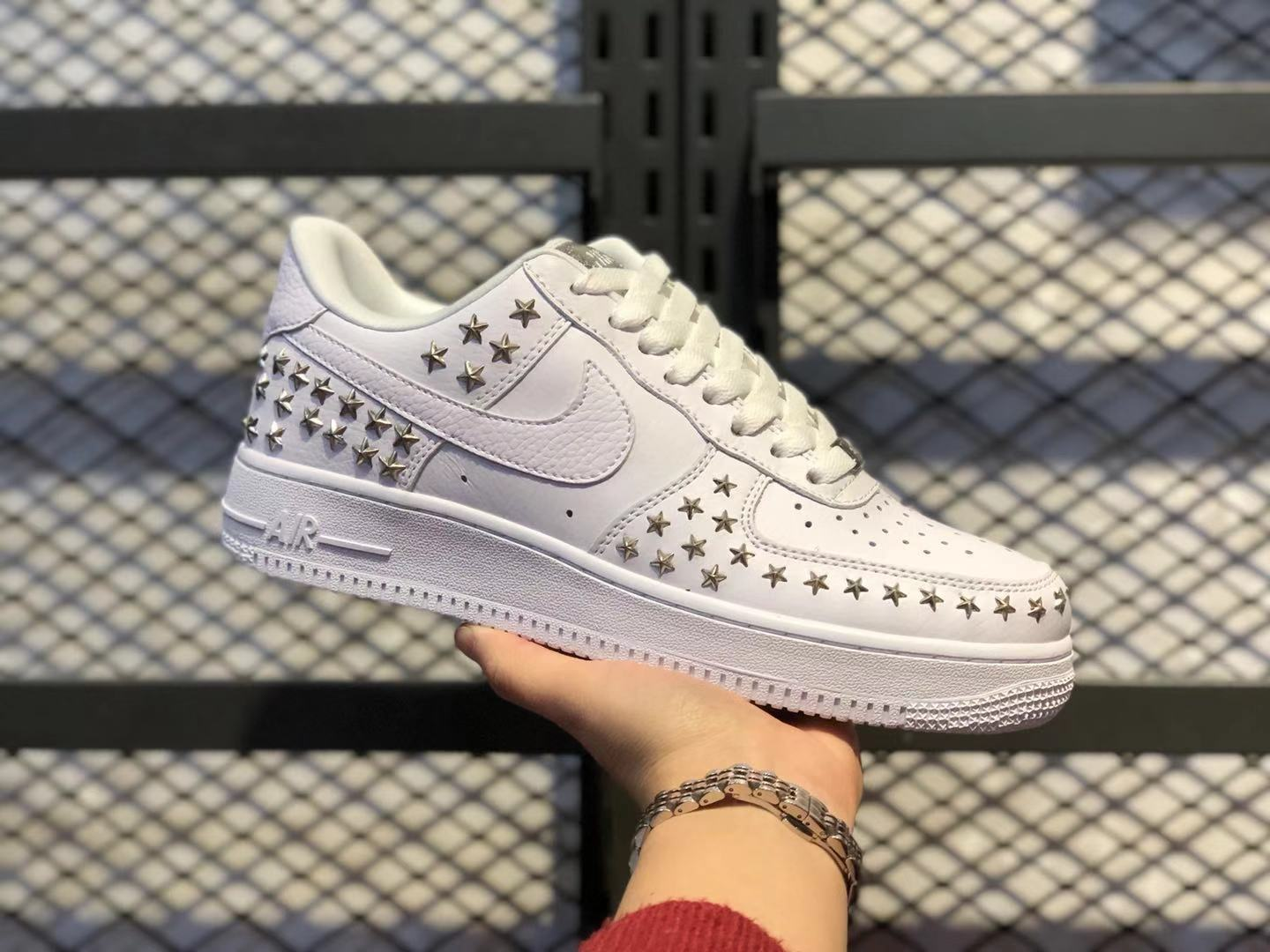"""Nike Air Force 1'07 Low """"Stars Pack"""" White/White Studs Shoes Online Buy"""
