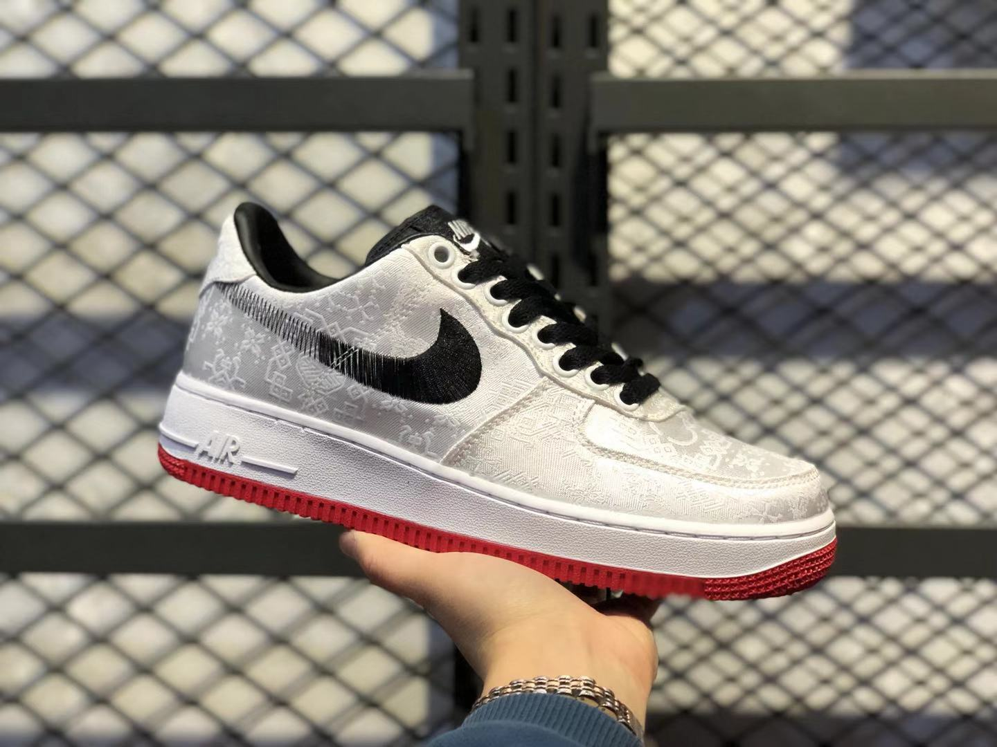 Nike Air Force 1'07 Low White/Black-Solar Red Life Classic Shoes On Sale