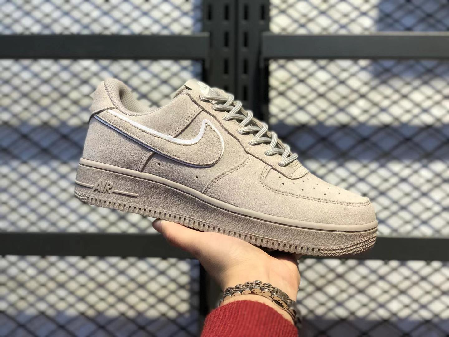 Nike Air Force 1'07 Moon Particle/Sepia Stone Suede Shoes AA1117-201 Cheap Sale