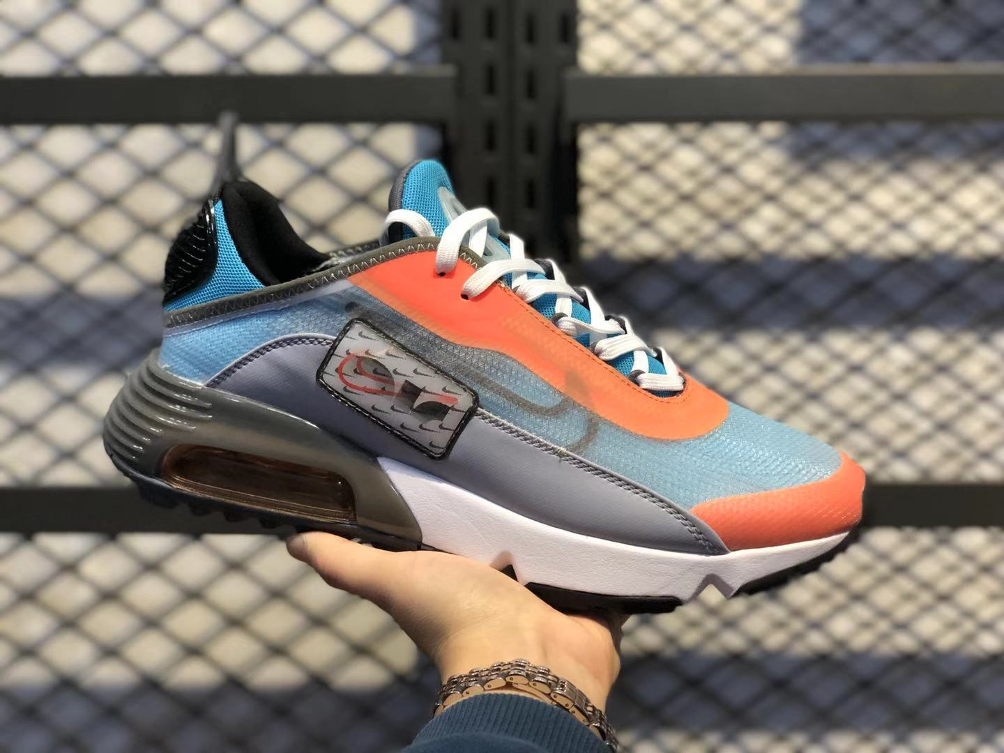Nike Air Max 2090 White/Orange-Lake Blue Athletic Sneakers In Stock CQ7630-400