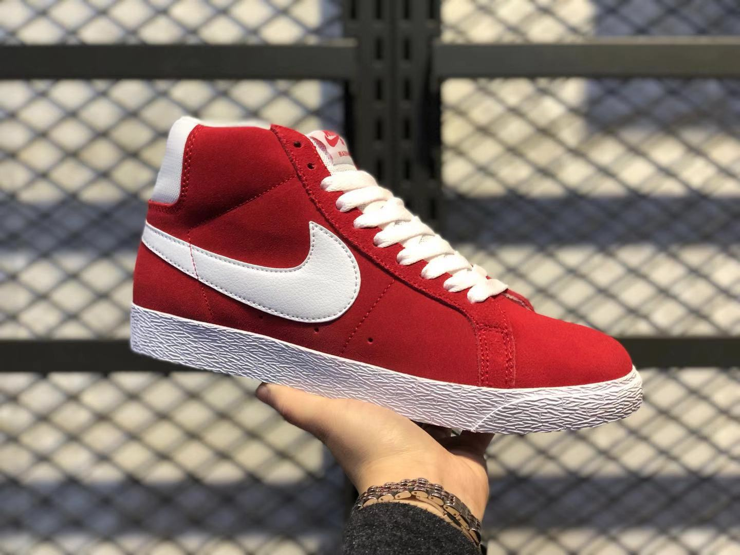 Nike SB Blazer Mid Retro University Red/White Suede Shoes 864349-611 For Sale