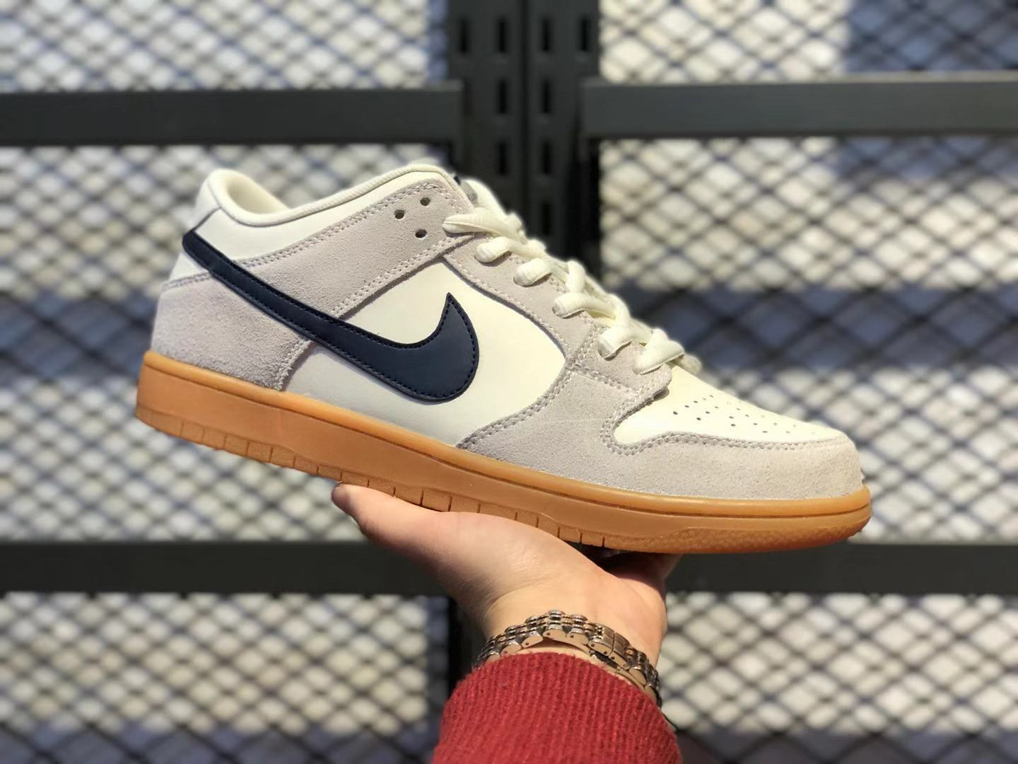 Nike SB Dunk Low Grey/Cream White-Black Lifestyle Shoes In Stock 854866-107