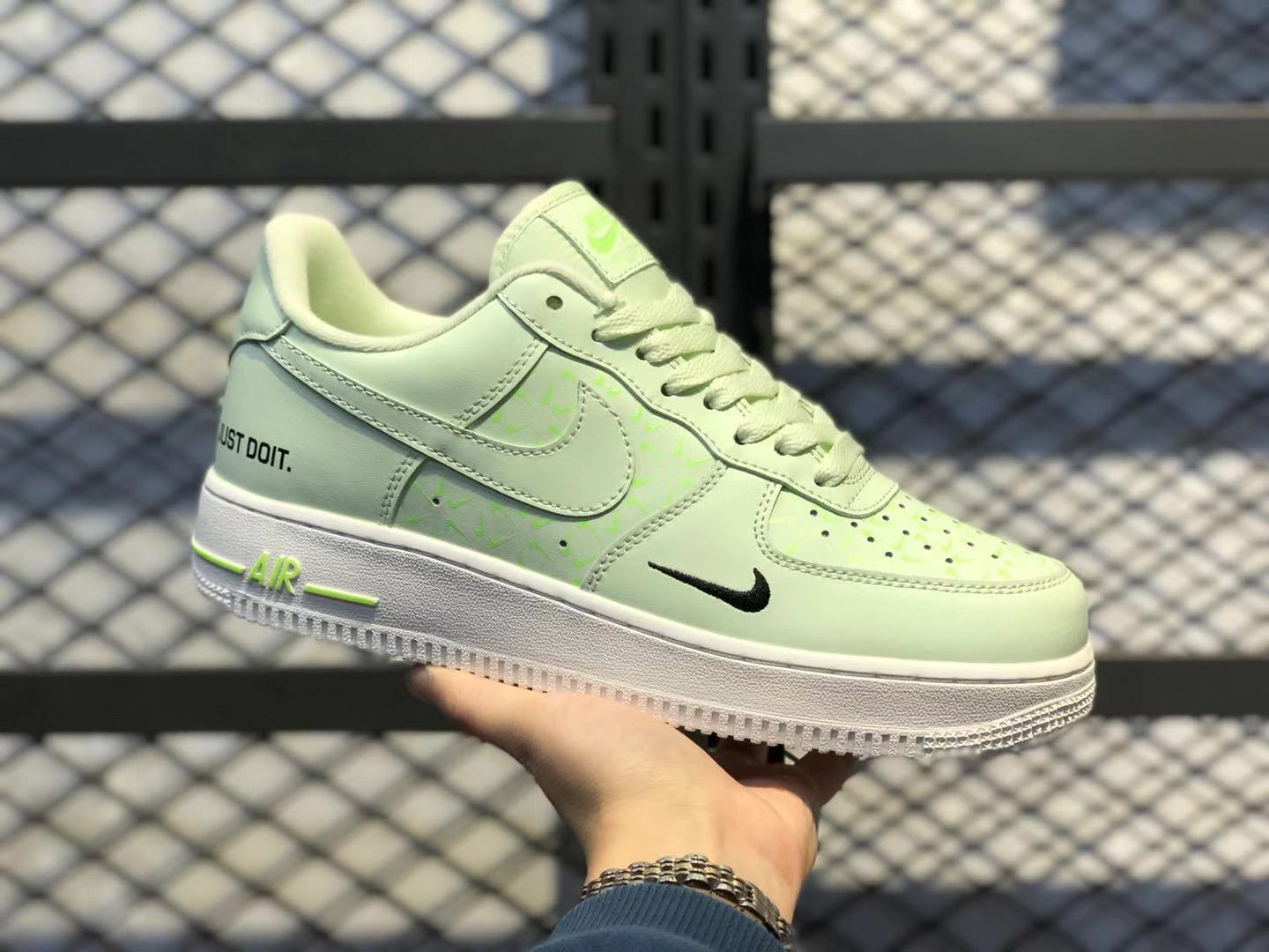 """Nike WMNS Air Force 1 """"Just Do It"""" Neon Yellow/White Casual Sneakers CT2541-700"""