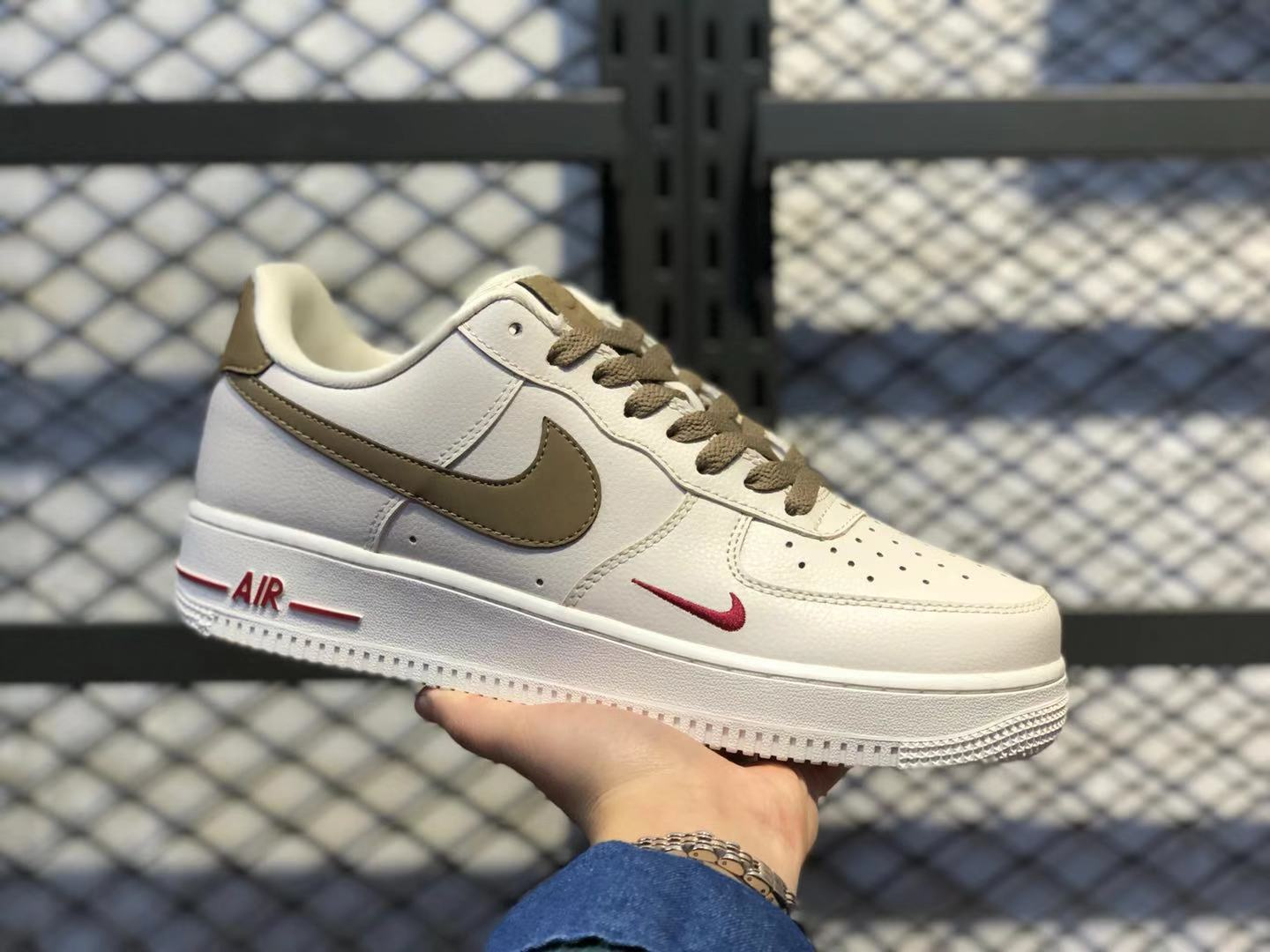 Nike WMNS Air Force 1 Low White/Brown-Red Casual Shoes For Sale 808788-996