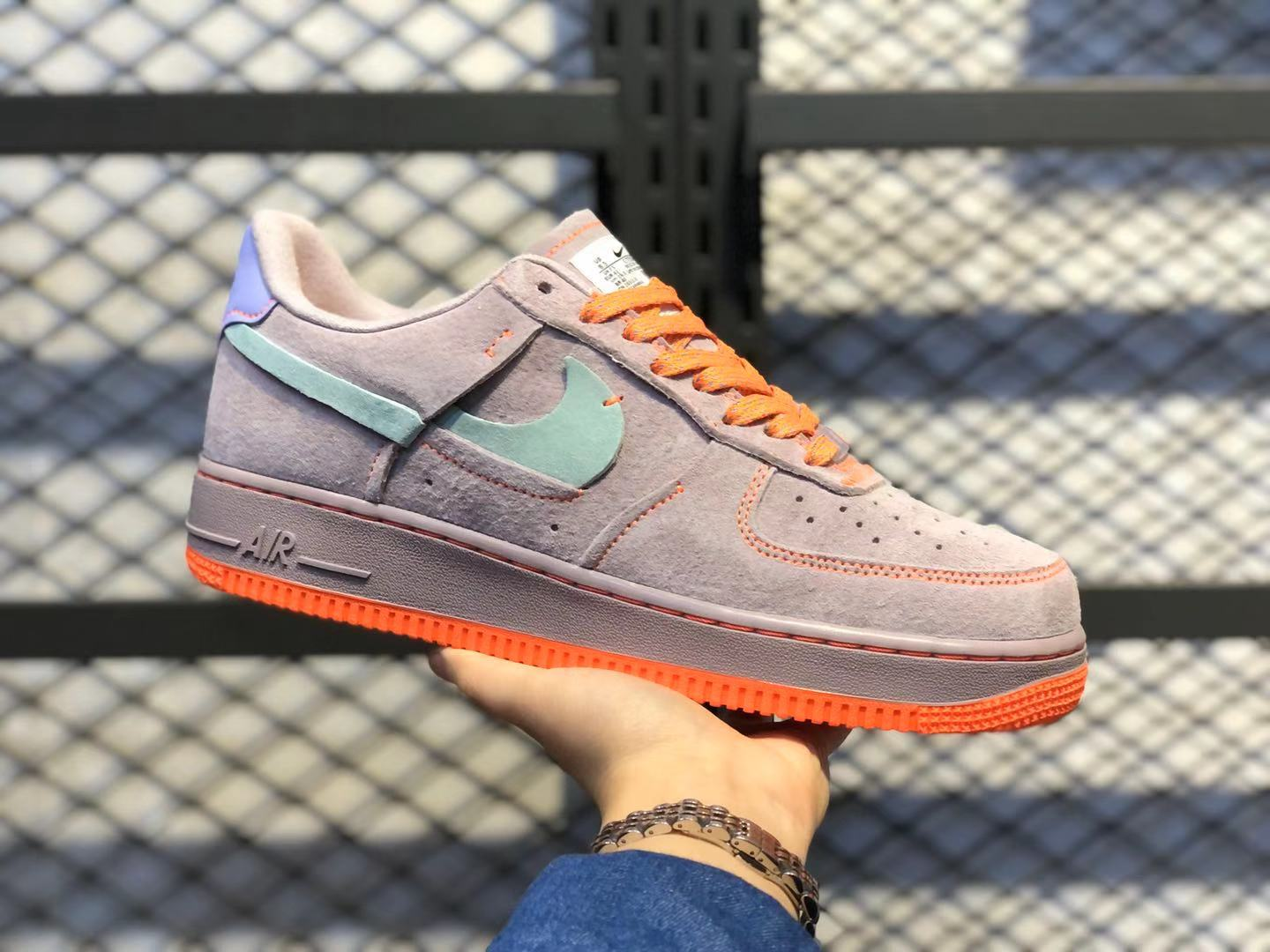 Nike WMNS Air Force 1 Pink/Orange-Grey Casual Running Shoes For Buy