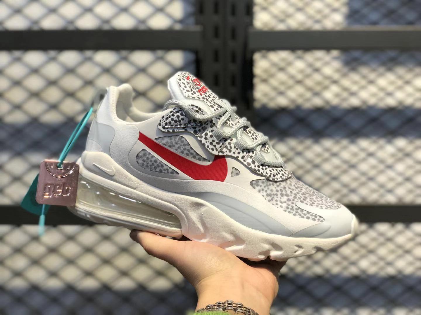 Nike WMNS Air Max 270 React Neutral Grey/University Red Running Shoes CT2535-001