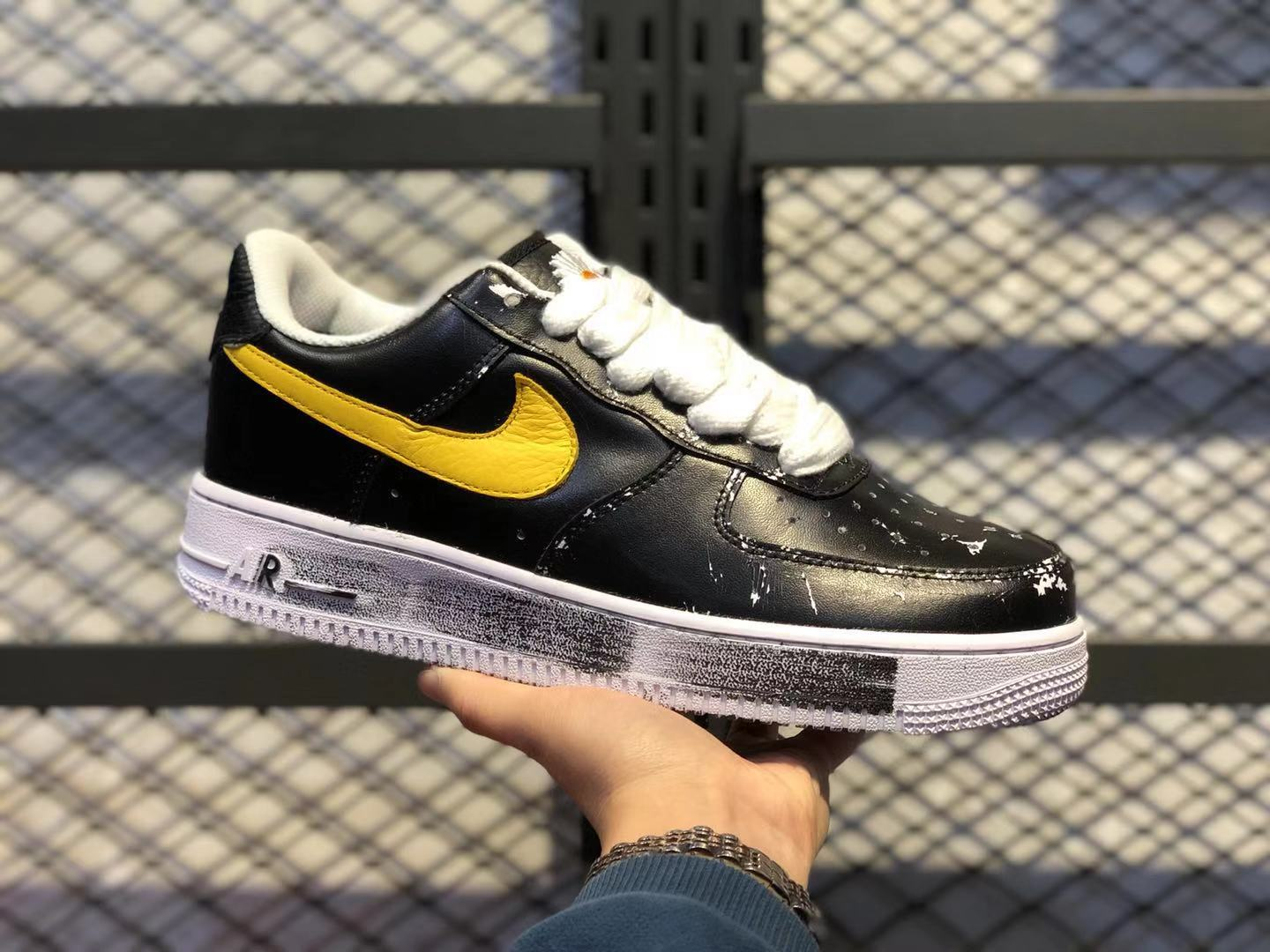 PEACEMINUSONE x Nike Air Force 1 Low Black/White-Yellow Leather Shoes In Stock