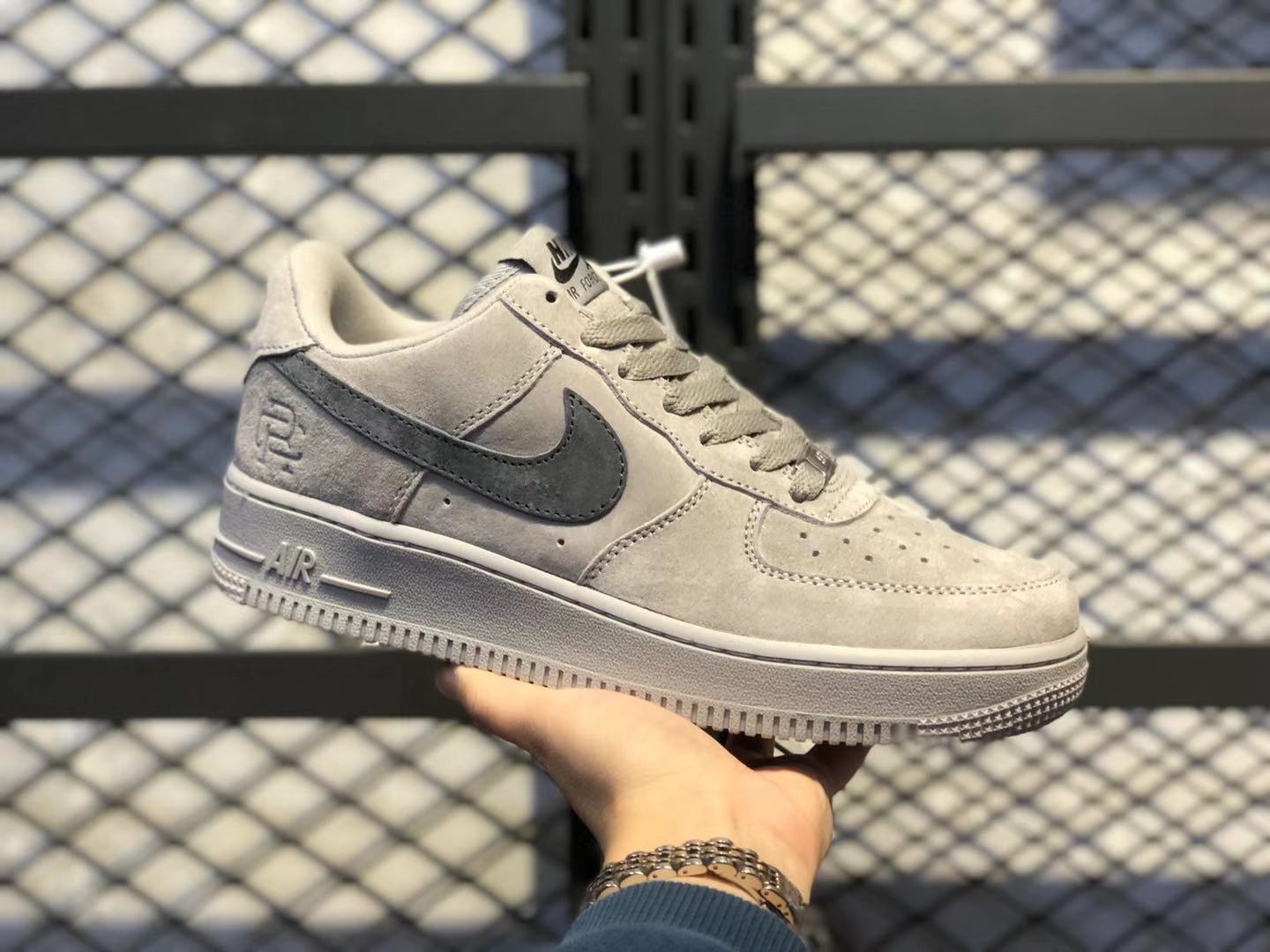 Reigning Champ x Nike Air Force 1 Low Light Grey/Black Suede Shoes AA1117-118
