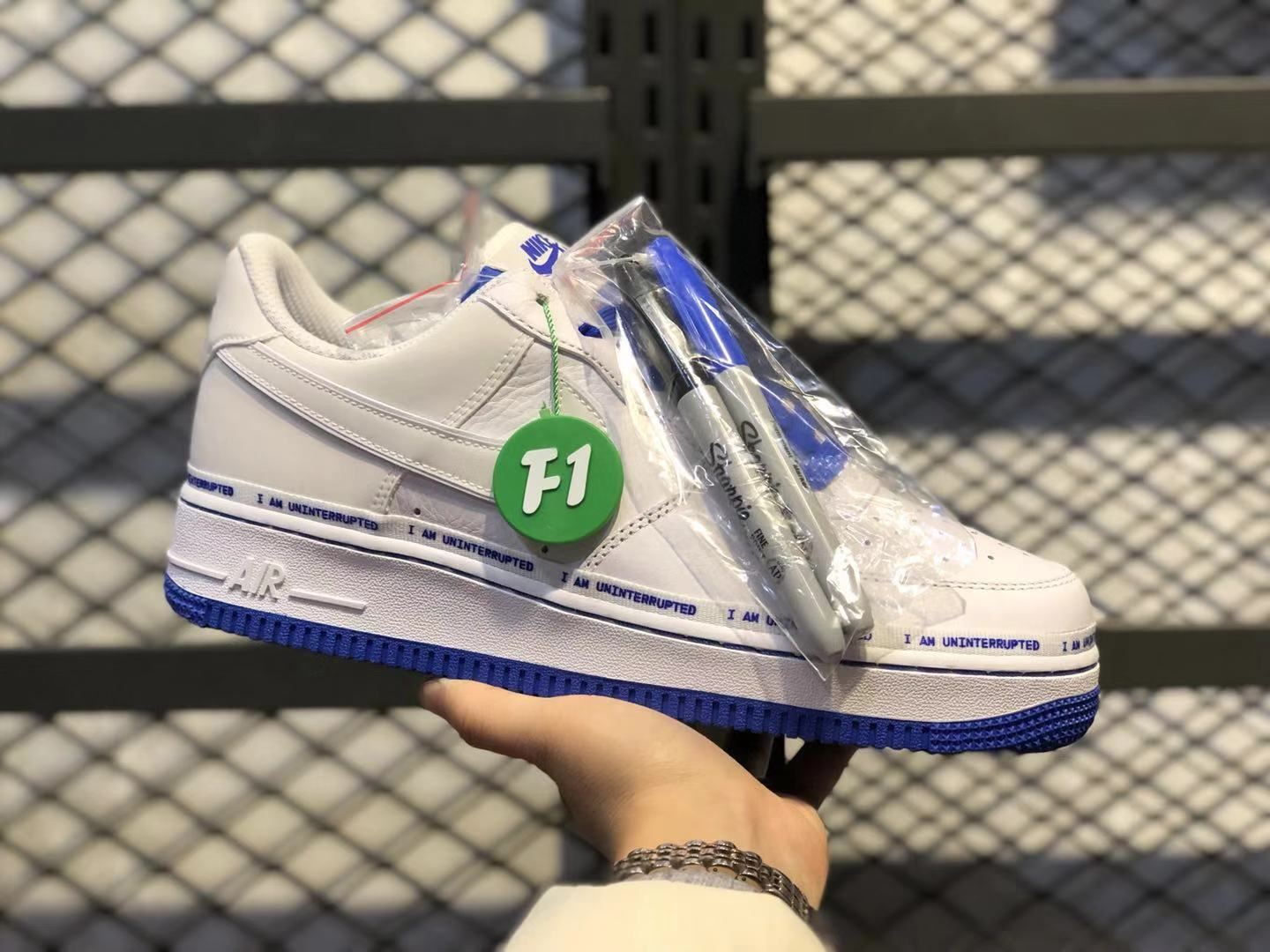Uninterrupted x Nike Air Force 1'07 White/Black/Racer Blue For Sale CQ0494-100