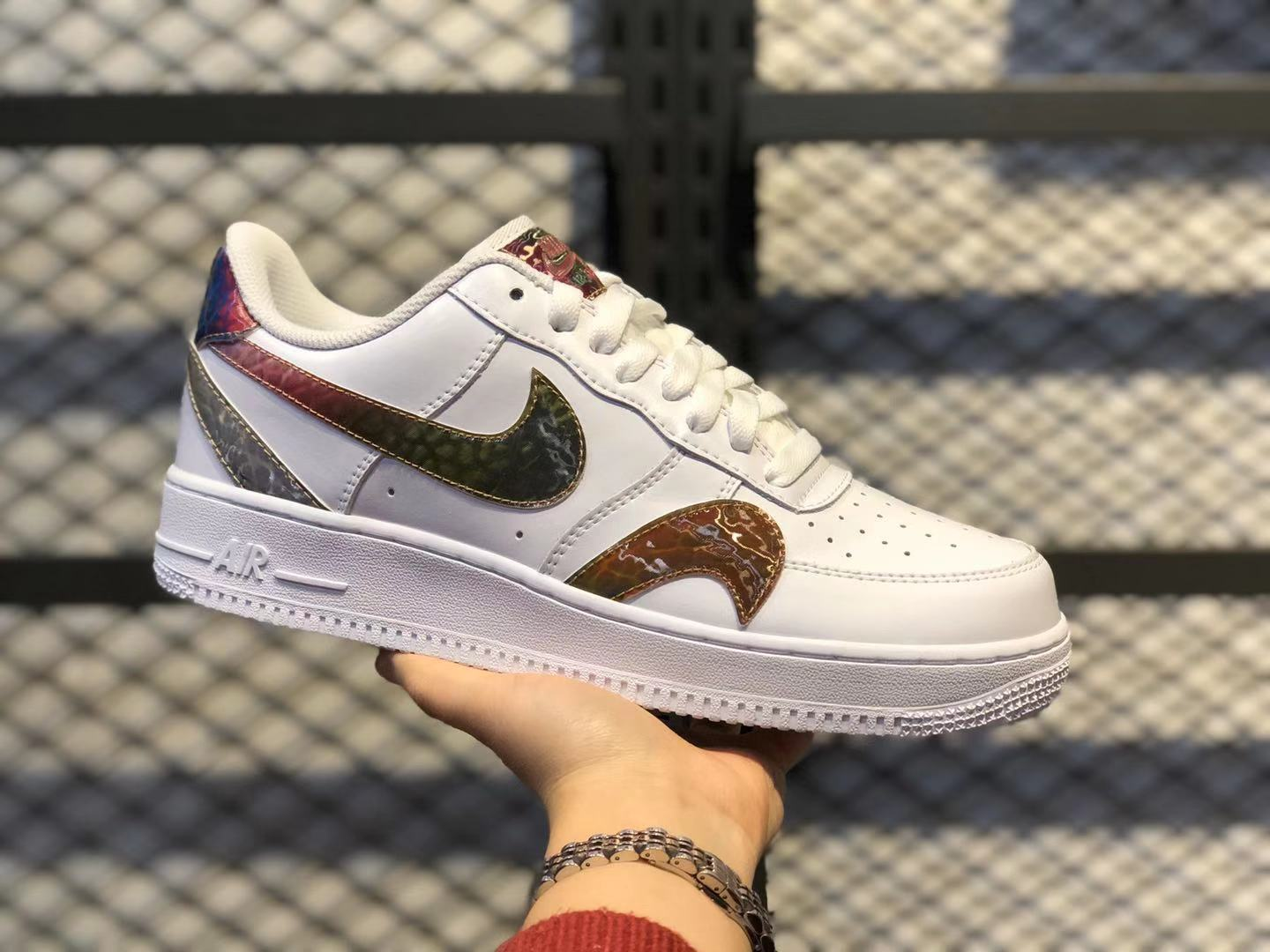 2020 Nike Air Force 1'07 White/Reflective Silver Sneakers For Sale CK7214-101