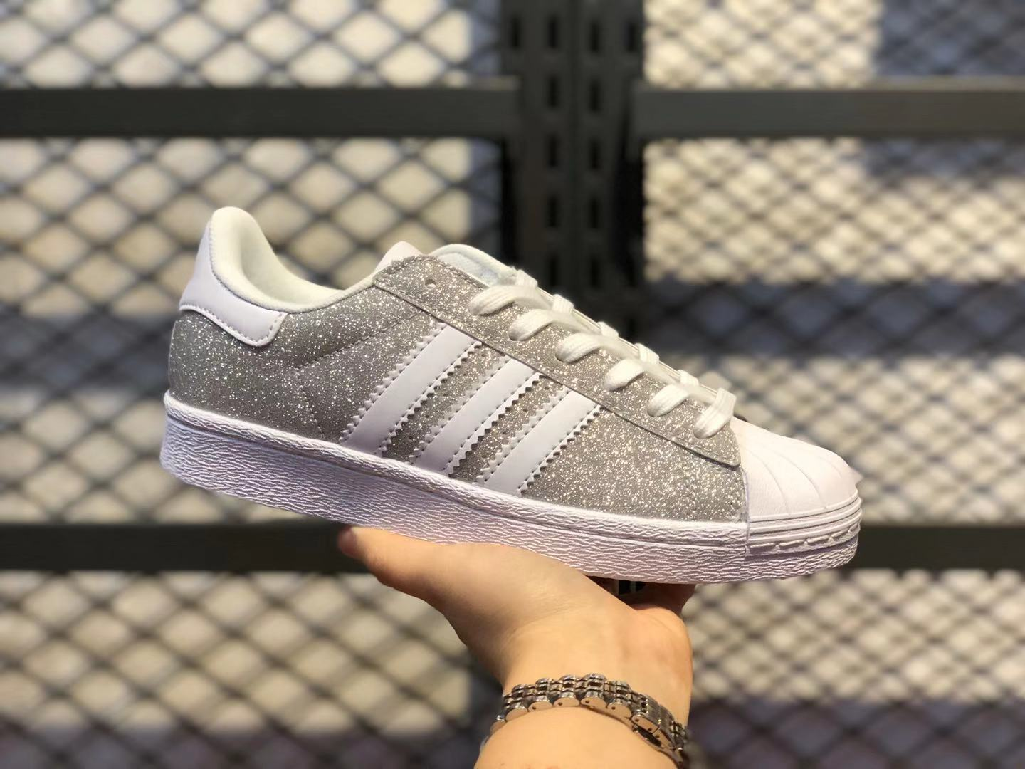 Adidas WMNS Originals Superstar Glitter Silver Fashion Casual Shoes S75125