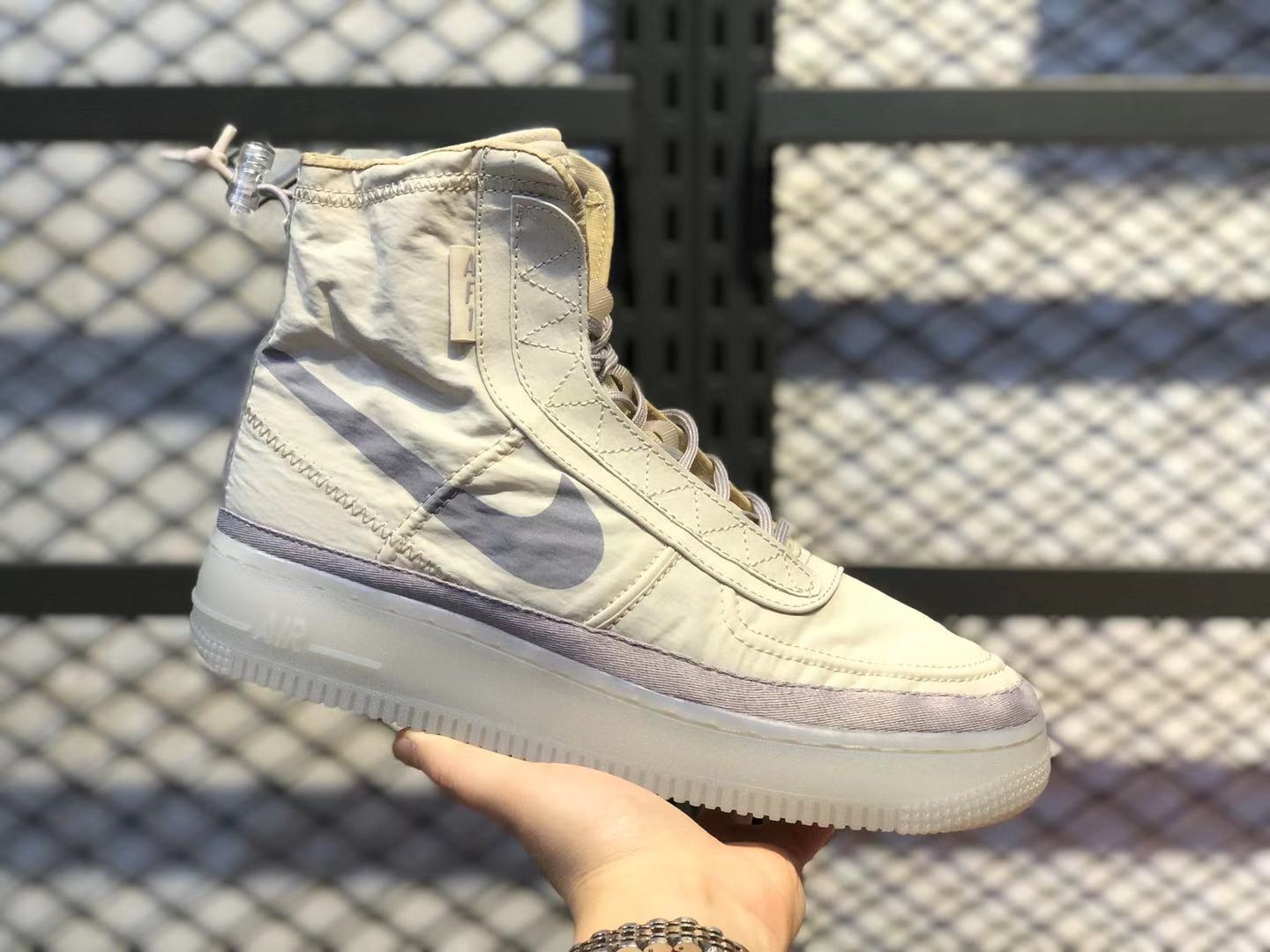 Delicate Nike WMNS Air Force 1 Shell Desert Sand/Atmosphere Grey BQ6096-002