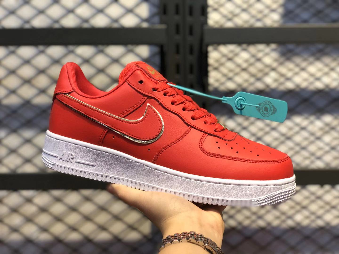 Nike Air Force 1 Low Red Gold Swoosh AO2132-602 Lightweight Sneakers On Sale