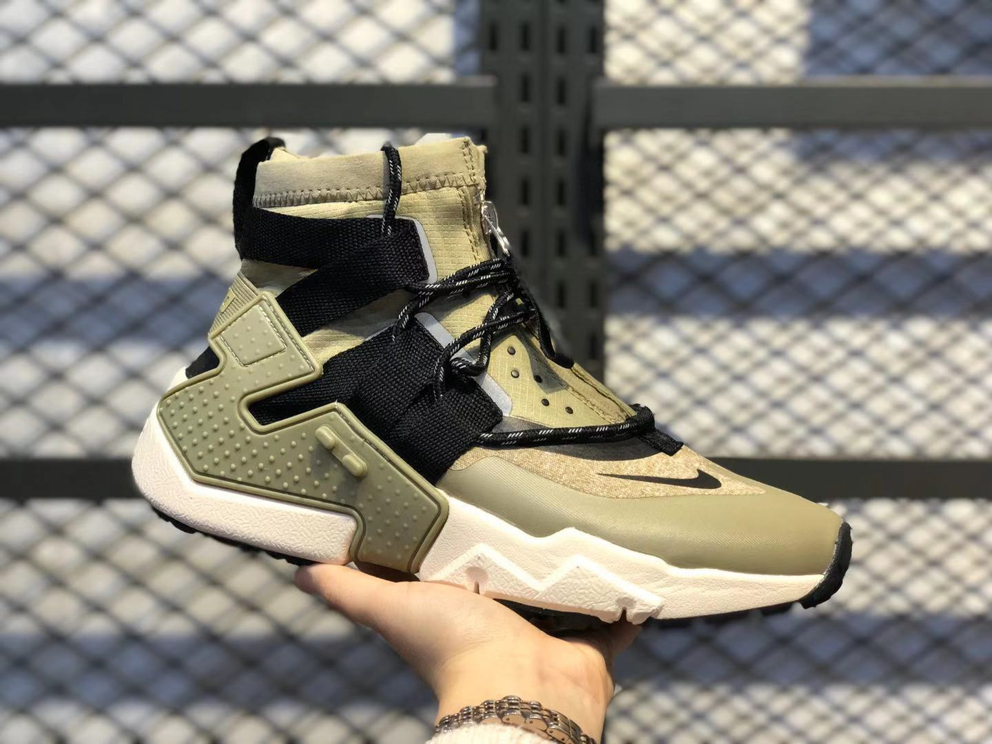 Nike Air Huarache Gripp Olive Green/Black Sport Shoes On Sale AO1730-200
